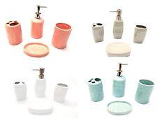 4 Piece Elegant Ceramic Bathroom Accessory Set - Solid Color