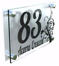 Modern House Number Plaques Acrylic Wall Door Sign Flowers Name Plate Dec4-1BS