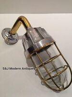 Antique Industrial Wall Light Silver Gold Brass Aluminium Bulkhead Vintage Lamp