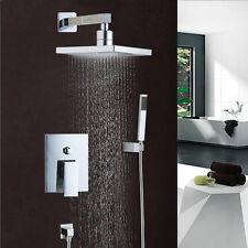 Adjustable 8'' rainfall hand held shower head square mixer tap faucet set