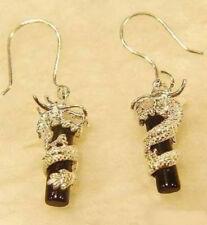 Black Agate Dragon Pendant Silver Hook Dangle Earrings