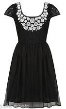 Miss Selfridge Embellished Neckline Lace Layer Prom Dress 10 38 Black Skater New