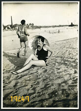 sexy woman w parasol, riverside, swimsuit, factory, Vintage Photograph, 1920's