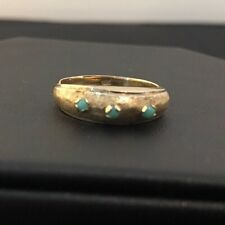 Vintage Antique 18k Solid Yellow Gold & Turquoise Ring Sz. 7.25
