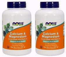 2-Pack Of Cal/Mag Citrate Powder 8 oz, Now Foods, Bones Calcium Magnesium