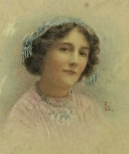 A Victorian Miniature portrait of a beautiful lady signed FS
