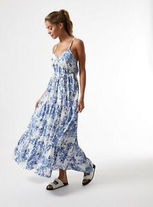 Miss Selfridge Womens Blue Floral Print China Trapeze Maxi Dress Casual Daywear