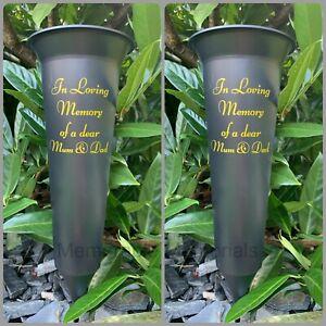 2 X Mum and Dad - Memorial Plastic Black Flower Vase Grave Crem Spike Vase Pot
