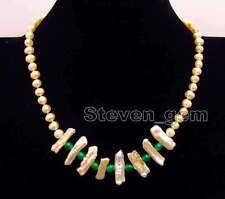 SALE 6-7mm Pink round pearl and Biwa Pearl & 6mm Green Jade 17'' Necklace-n6171
