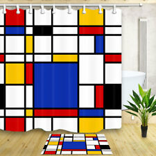 Blue white Geometry Decor Bathroom Shower Curtain Waterproof Fabric & 12 Hooks