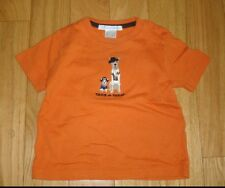Boys JANIE And JACK Halloween Orange Shirt Top Sz 6-12 Great Dane Chihuahua Dogs