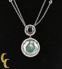 18ct envejecido ORO BLANCO colgante de diamante solitario 11.46 Ct Centro piedra