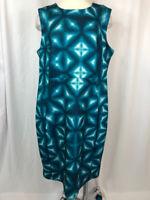 CALVIN KLEIN Women Size 18 Teal Print Dress