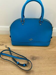Electric blue leather coach bowler bag