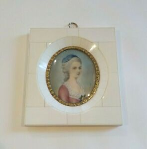 19th C. Miniature Watercolor Portrait Painting, Young Woman, Blue Hat (#8)