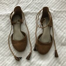 Pierre Dumas Lace Up Flats size 6.5 brown suede lace up tassel ballet shoe
