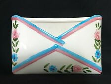 Vintage Ceramic Decorated Floral Painted Envelope Pocket Mail Holder Desk Accent