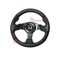 280mm JDM Steering Wheel Black PVC Carbon Fiber Look & Red Stitching Silver H