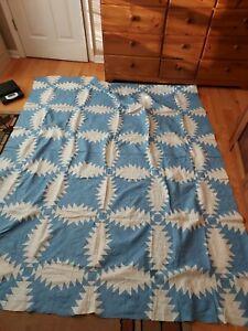 "Antique Patchwork Quilt Top -Blue & White - Unusual Design -68"" by 82"""