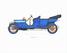 Canvas Print Vintage Car Poster Illustration - LANCIA 1909 BLUE
