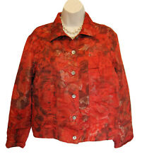 CHICOS Silk Metallic Jacket Size 1 8 10 M Leaves Rust Chico's Layer Multi Leaf