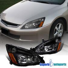 For 2003-2007 Honda Accord 2/4Dr LX EX JDM Headlights Head Lamps Pair Black