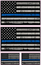 THIN BLUE LINE POLICE AMERICAN FLAG DISTRESSED COMBO DECALS STICKER x 4
