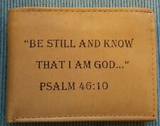 NEW Mens Christian BE STILL KNOW I'M GOD Tan Brown GENUINE LEATHER Bifold Wallet