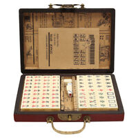 Portable Vintage Mahjong Rare Chinese 144 Tiles Mah-Jong Set Toy W/ Leather Box