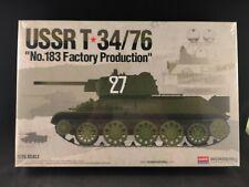 Academy USSR T 34/76 No. 183 Factory Prod. Tank 1:35 Scale Model Kit 13505 NIB