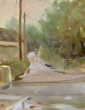 "NEW ORIGINAL MICHAEL RICHARDSON ""Country Lane in the Rain"" Rural Kent PAINTING"