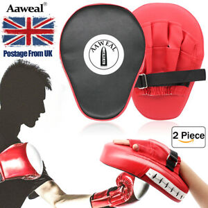 2x Boxing Focus Pads Hook Jab Mitts target Kick Curved MMA Martial Arts Training