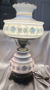 Vintage 1973 Quoizel Abigail Adams Hurricane Lamp Blue Floral 3 Way Pristine