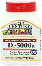 21st Century Vitamin D3 5000IU Tablets, 110-Count -Expiration Date 01-2019-