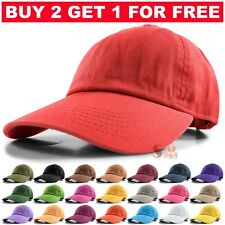 Baseball Cap Ball Dad Hat Adjustable Plain Solid Cotton Polo Washed Mens Womens