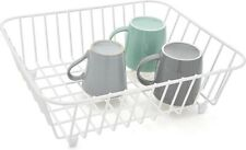 Simplywire Kitchen Sink Basket Dish Drainer Rack Cups Plates Tray Holder - White