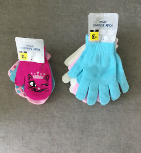 Girls Stretch Gloves & Mittens Winter Knitted Pack Of 3 Mittens Pack Of 4 Gloves