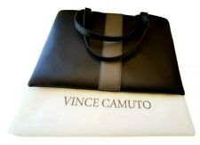 VINCE CAMUTO LUCK PEBBLED BLACK & GRAY VEGAN LEATHER COMPUTER BAG TOTE