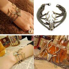 Retro Full Rhinestone Mysterious Deer Head Vintage Bracelet for women bangles