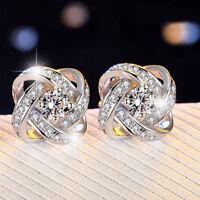 Sterling Silver Crystal Swirl Stud Round Earrings Wedding Jewelry Womens Gift