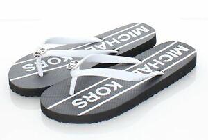 01-22 NEW Women's Sz 8 M Michael Kors Rubber Flip Flops In Black/White