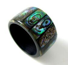 Handmade Natural Paua Abalone Shell Band Ring size US 7 Women Jewelry BA074-B
