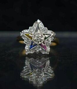 Vtg 10K Yellow Gold Order of Eastern Star Gemstone w/ Diamond Ring  Size 4.75