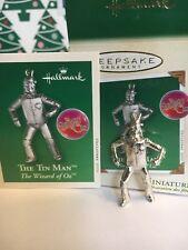 Wizard Of Oz Tin Man Silver Plated Christmas  Hallmark Miniature Ornament NIB