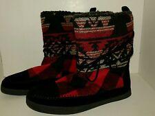 Madden Girl Boots.  Women's 8M  Red/black plaid.  Moccasins  NIB