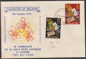 (A6)MALAYSIA 1963 ORCHID CONFERENCE PRIVATE FDC SANDAKAN NORTH BORNEO CDS