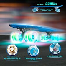 "Blue 22"" Complete Skateboard Mini Cruiser Penny Beginners Board Plastic Deck"