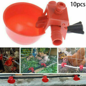 10pcs Automatic Cups Water Feeder Drinker Chicken Waterer Poultry Chook Durable
