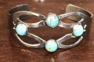VINTAGE STERLING HECHEON TURQUOISE BANGLE BRACELET MEXICO 925