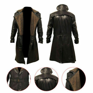 Blade Runner 2049 Ryan Gosling Fur Lapel Collar Faux Men Leather Trench Pea Coat
